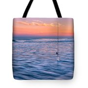 Fishing The Sunset Surf - Square Version Tote Bag