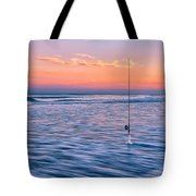 Fishing The Sunset Surf - Vertical Version Tote Bag