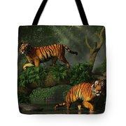 Fishing Tigers Tote Bag