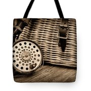Fishing - Vintage Fly Fishing - Black And White Tote Bag