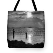 Fishing With Dad - Black And White - Merritt Island Tote Bag