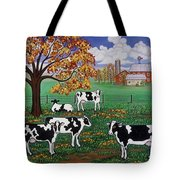 Five Black And White Cows Tote Bag