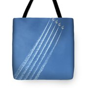 Five F-16 Fighting Falcons Reaching For Some Sky Tote Bag