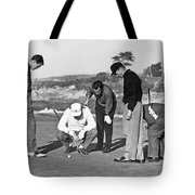 Five Golfers Looking At A Ball Tote Bag
