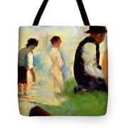 Five Male Figures Possible Preparatory Sketch For The ''bathers At Asnieres.'' Tote Bag