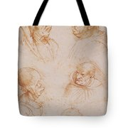 Five Studies Of Grotesque Faces Tote Bag by Leonardo da Vinci