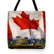 Flag Of Canada Over Albertas Capital Tote Bag