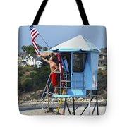 Flag Waving Lifeguard Tote Bag