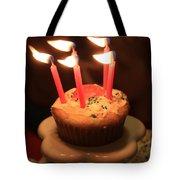 Flaming Birthday Cupcake Closeup Tote Bag by Robert D  Brozek