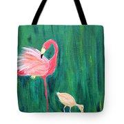 Flamingo And Chick Tote Bag