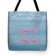 Flamingo Couple In Shallow Waters Tote Bag