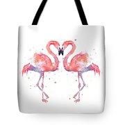 Flamingo Love Watercolor Tote Bag by Olga Shvartsur