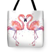 Flamingo Love Watercolor Tote Bag