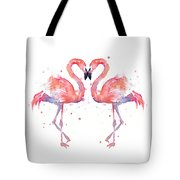 Flamingo Love Watercolor Tote Bag