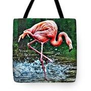 Flamingo Splash Two Tote Bag