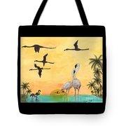 Flamingo Sunset Silhouette Cathy Peek Tropical Birds  Tote Bag