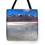 Flamingos At The Altiplano In A Salt Lake Tote Bag