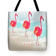 Flamingos On The Beach Tote Bag