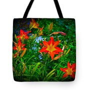 Flashes Of Garden Fire Tote Bag