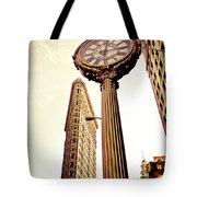Flatiron Building And 5th Avenue Clock Tote Bag