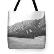 Flatirons Boulder Colorado Winter View Bw Tote Bag
