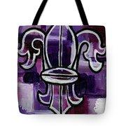 Fleur De Lis Purple Abstract Tote Bag