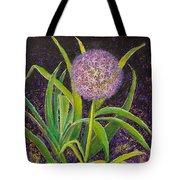 Fleur D Allium With Iris Leaves Backup Tote Bag