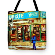 Fleuriste Notre Dame Flower Shop Paintings Carole Spandau Winter Scenes Tote Bag