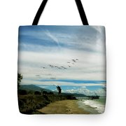 Flight Of Pelicans Tote Bag