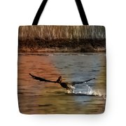 Flight Of The Pelican-featured In Wildlife-newbies And Comfortable Art Groups Tote Bag