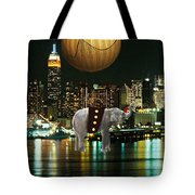 Flight Over The New York Skyline On A Hot Air Balloon Tote Bag by Marvin Blaine