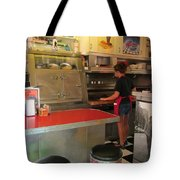 Flippin Burgers In The Diner Tote Bag
