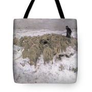 Flock Of Sheep In The Snow Tote Bag