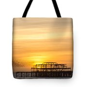 Flock Of Starlings Over The West Pier In Brighton Tote Bag