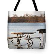 Flooded Park Bench Lunch Tote Bag