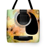 Floral Abstract Guitar 14 Tote Bag