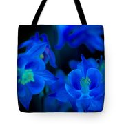 Floral Blue Orchid On Black Tote Bag