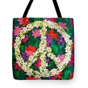 Floral Peace Pop Art Tote Bag