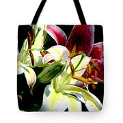 Florals In Contrast Tote Bag