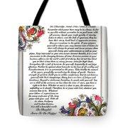 Florentine Desiderata Poster Tote Bag