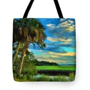Florida Landscape With Palms Tote Bag