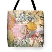 Florida Seashells Collage Tote Bag