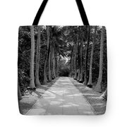 Florida Walkway Black And White Tote Bag