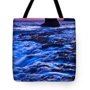 Flow - Dramatic Sunset View Of A Sea Stack In Davenport Beach Santa Cruz. Tote Bag