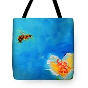 Flower And A Bee Tote Bag
