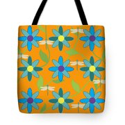 Flower And Dragonfly Design With Orange Background Tote Bag
