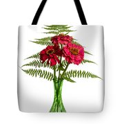 Flower Arrangement With Ferns And Zinnias Tote Bag