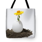 Flower Growing In A Egg Tote Bag