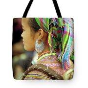 Flower Hmong Woman Tote Bag