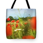 Flower Meadow In Summer With Red Poppy Tote Bag